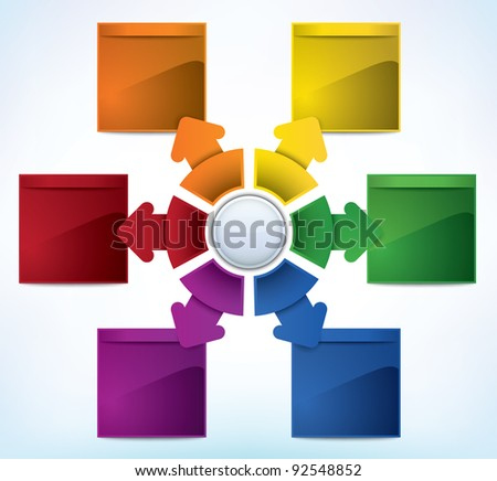 Multicolored presentation template with multiple directions and place for text - stock vector