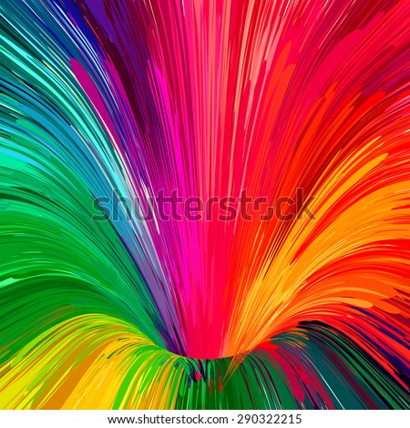 Multicolored rainbow funnel brush strokes background.  - stock vector