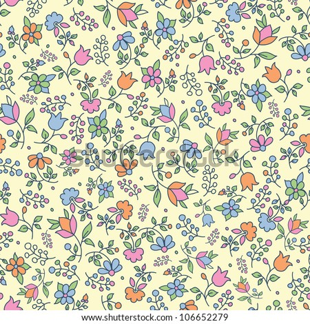 Multicolored retro floral seamless pattern with hand drawn elements. Vector illustration - stock vector