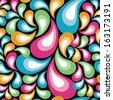 Multicolored Retro Organic Pattern repeats seamlessly. - stock vector