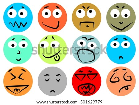 Multicolored rounded emoticons