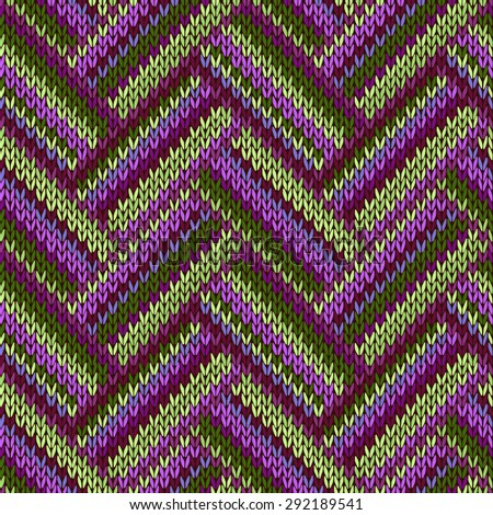 Multicolored Seamless Spring Knitted Pattern. Green Lilac Color - stock vector