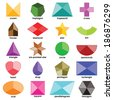 Multicolored shapes set on the white background without hole - stock vector