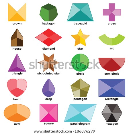 Multicolored shapes set on the white background without hole