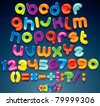 Multicolored Shiny Vector Font, available all letters, numbers and orthographic symbols - stock vector