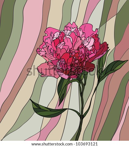 Multicolored stained glass with floral motif, a peony on a multicolored striped background - stock vector