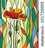 Multicolored stained glass with floral motif, vector - stock photo