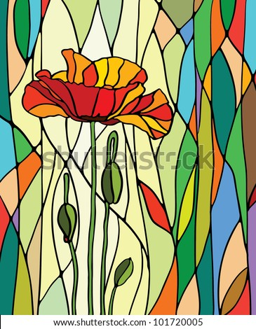 Multicolored stained glass with floral motif, vector - stock vector