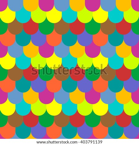 Multicolored tiling seamless texture. Fish scales pattern. Vector art. - stock vector