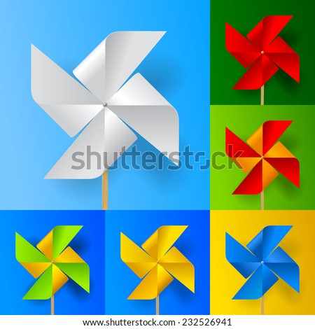 Multicolored toy paper windmill propeller set on backgrounds of different colors. Vector illustration - stock vector