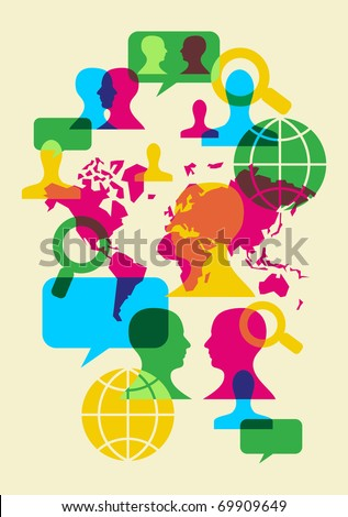 Multicolored transparency social web communication signs. Vector file available. - stock vector