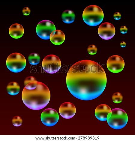 Multicolored transparent realistic iridescent soap bubbles vector illustration - stock vector