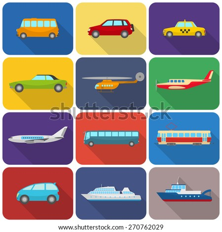 Multicolored transport types icons flat isolated vector illustration - stock vector