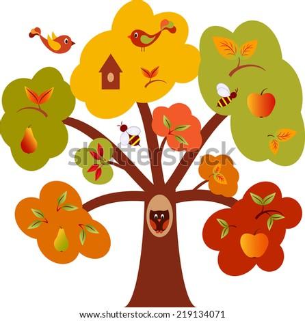 Multicolored Tree, Fall Tree, Tree Vector - stock vector