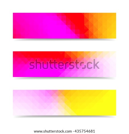 Multicolored vector banners set with polygonal abstract triangles. - stock vector