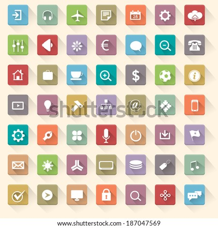Multicolored Vector Flat Icons Set - stock vector