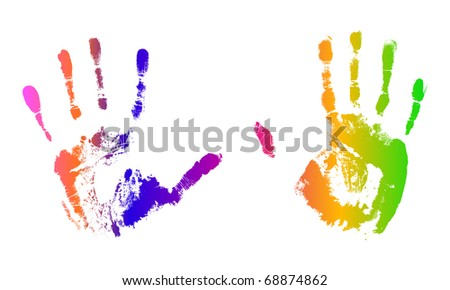 Multicolored vector hand prints - stock vector
