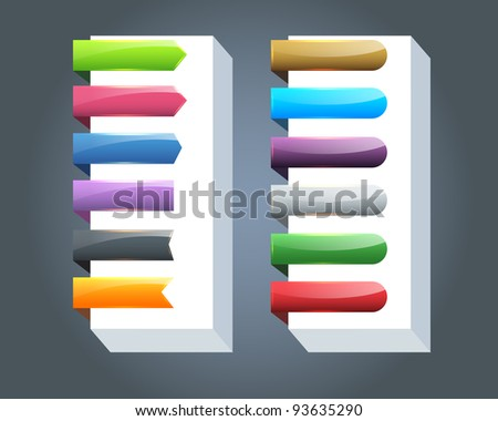 Multicolored Vector Ribbon Set - stock vector