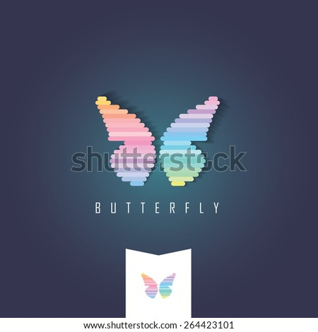 multicolored vivid bright abstract butterfly logo sign isolated on dark and light background - stock vector