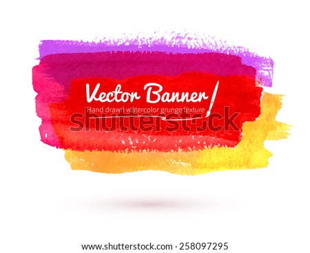Multicolored watercolor banner. Red, yellow, magenta. Vector illustration. - stock vector