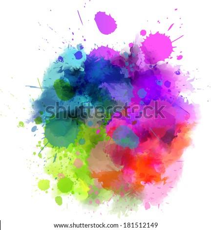 Multicolored watercolor splash blot - stock vector