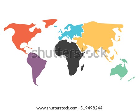 Multicolored world map divided six continents vector de multicolored world map divided to six continents in different colors north america south america gumiabroncs Image collections