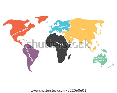 Multicolored world map divided six continents stock vector multicolored world map divided to six continents in different colors north america south america gumiabroncs Gallery