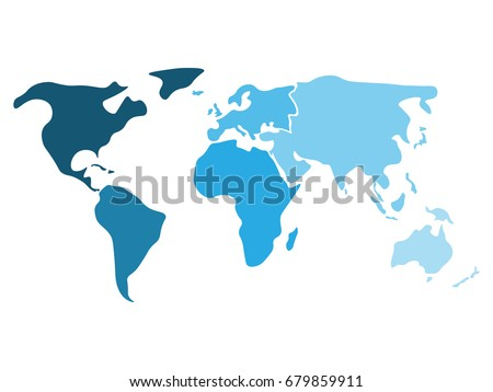 Multicolored world map divided six continents vector de multicolored world map divided to six continents in different shaders of blue north america gumiabroncs Image collections