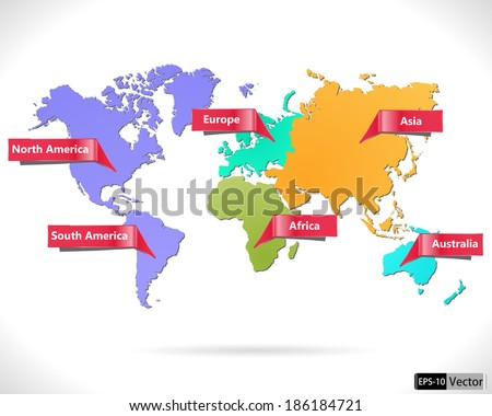 multicolored world map macro-geographical regions. Vector illustration. - stock vector