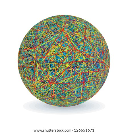 Multicolored Yarn Ball. Vector Image Isolated on White - stock vector