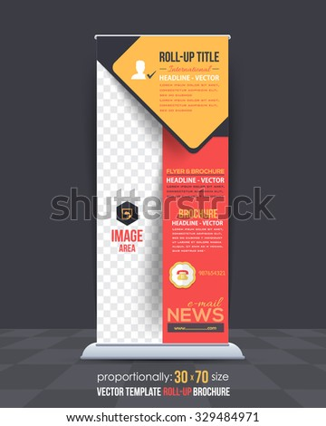 Multicolors Business Concept Roll-Up Banner Design, Vertical Advertising Vector Template - stock vector