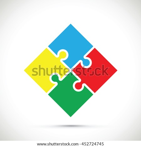 multicoloured jigsaw - stock vector