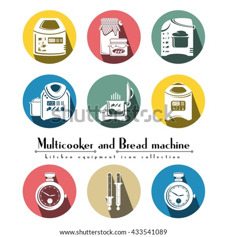Multicooker and bread machine colorful flat icon vector set round style, full-face and half-face multicookers with kitchen cooking elements. Household equipment, detailed icon of kitchen appliances.