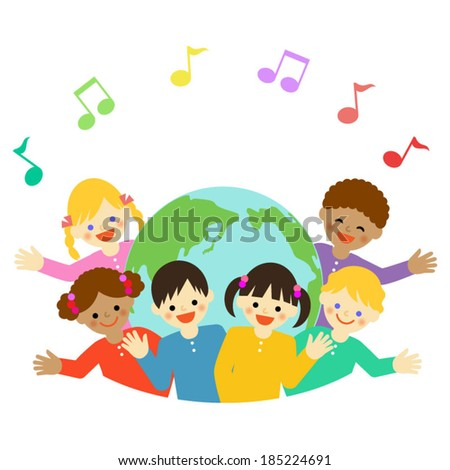 Multicultural children and earth / Vector EPS 10 illustration - stock vector