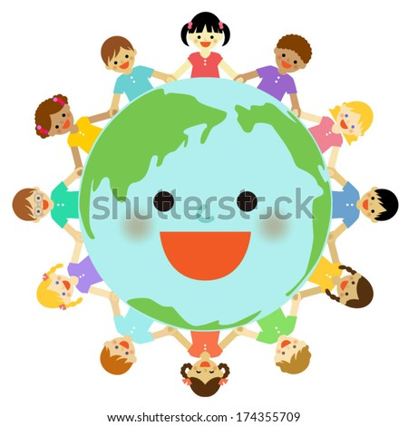 Multicultural children around the earth . Vector EPS 10 illustration - stock vector