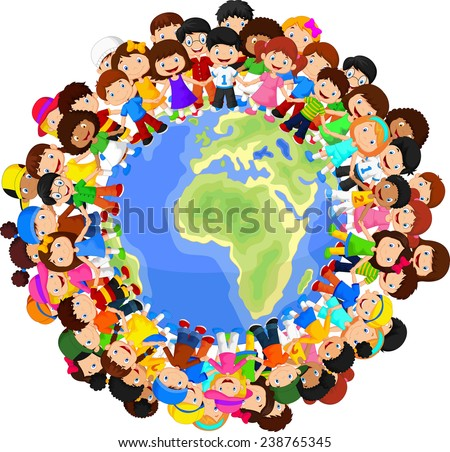 Multicultural children on planet earth - stock vector