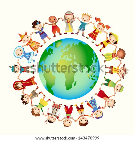 multicultural children on planet earth, cultural diversity, traditional folk costumes. Earth is my friend. Group of children around the world. - stock vector