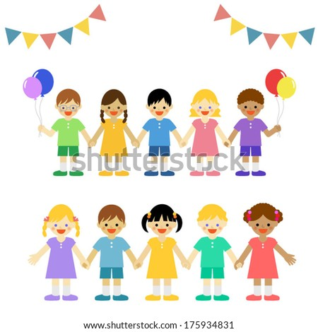 Multicultural children / Vector EPS 10 illustration  - stock vector
