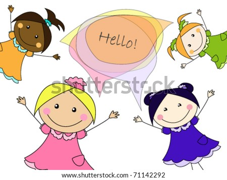 """Multicultural girls say """"Hello"""" to you - stock vector"""
