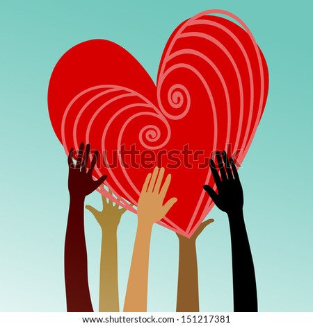multicultural hands with heart - stock vector