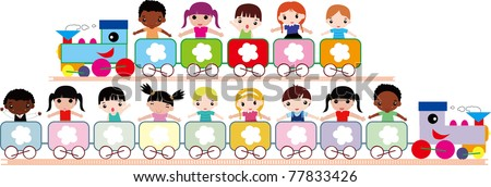 multicultural kids in the train symbolizing, peace, hope - stock vector