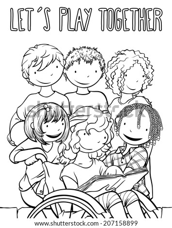 coloring pages ethnic children | Stock Images similar to ID 173428661 - summer camp with ...