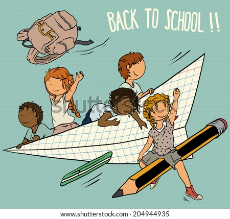 Multiethnic Group of  Kids  -  Back to School Theme, Illustration for Children, Vector Cartoon. - stock vector
