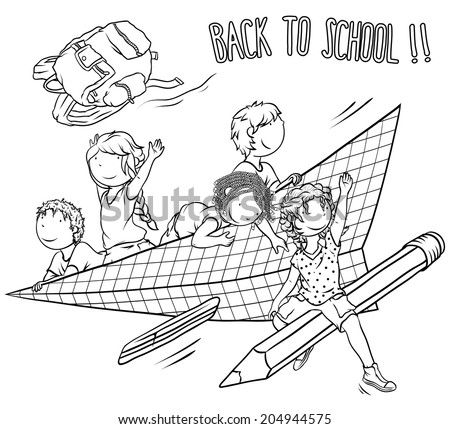 Multiethnic Group of  Kids  -  Back to School Theme, Illustration for Coloring Book Design, Vector Cartoon. - stock vector
