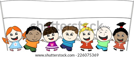multiethnic little kids holding banner isolated on white background