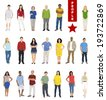 Multiethnic People on White Background. - stock