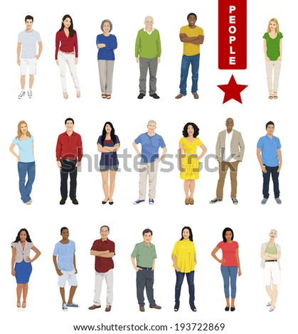 Multiethnic People on White Background. - stock vector