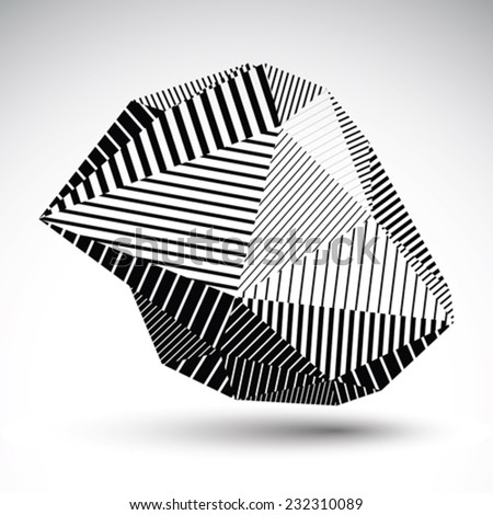 Multifaceted asymmetric contrast figure with parallel lines. Striped monochrome misshapen abstract vector object constructed from graffiti triangles. Stencil element. - stock vector