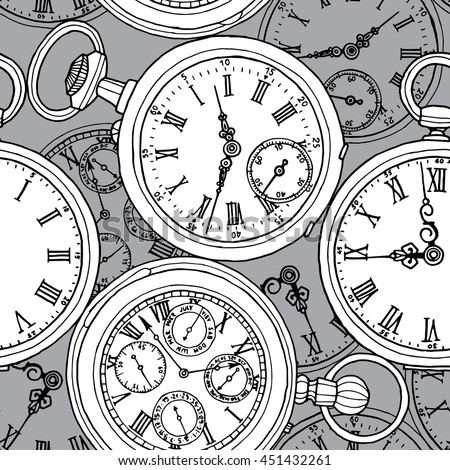 Multilayer seamless pattern. Different retro pocket watches on a gray background. Vector illustration.