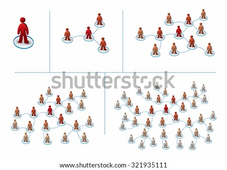 Multilevel marketing concept with a growing network - stock vector